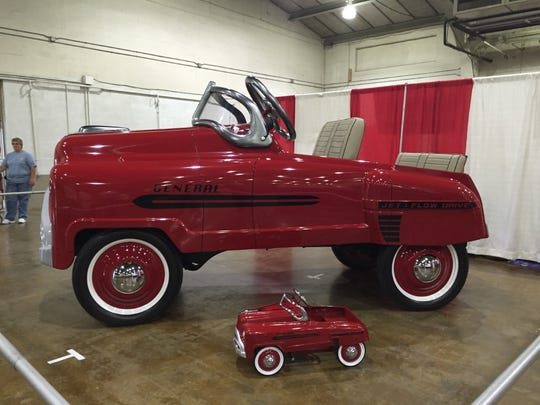 This monster pedal car found at Street Rod Nationals East on June 4 is five times the size of a typical pedal car.