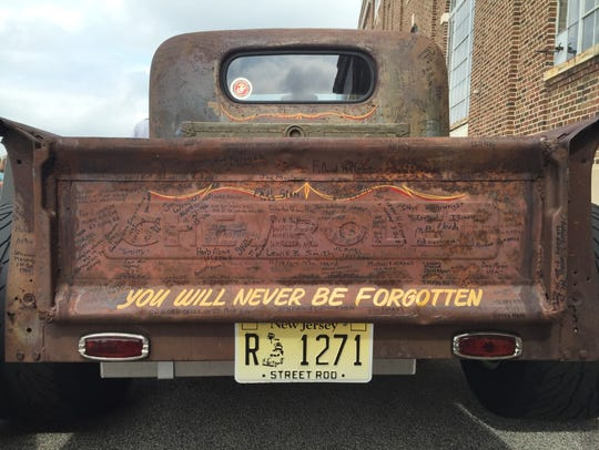The tailgate of this 1946 Chevy truck includes the
