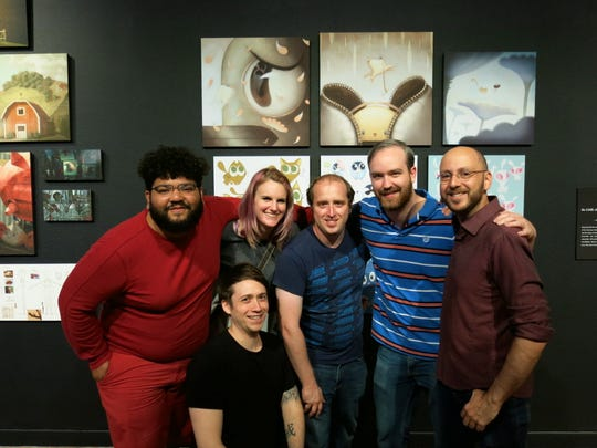 Rick Silliker, Rafi Diaz, Carrie Watts, Alex Gold, Aaron Quidley, Chris Lesage at Moonbot opening.
