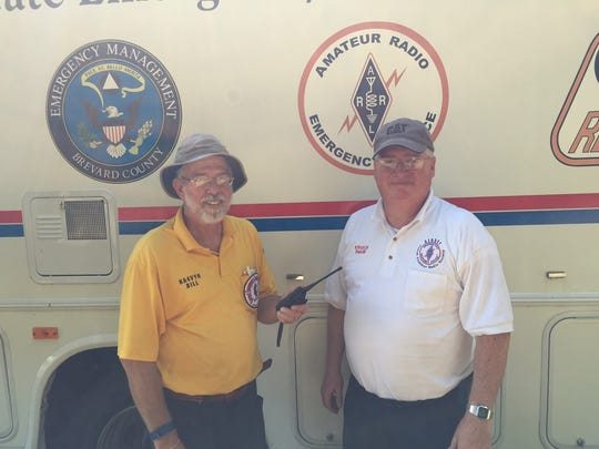 Bill Young, president of BEARS and Dwaine Heroux, deputy commander of the communications assistance team showed off a response vehicle at two recent hurricane preparedness events in Rockledge and Palm Bay.