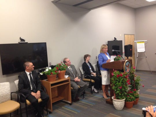 Lt. Gov. Kim Guadagno speaks at the Burlington County VA Clinic in Marlton on Wednesday at the ribbon-cutting ceremony.