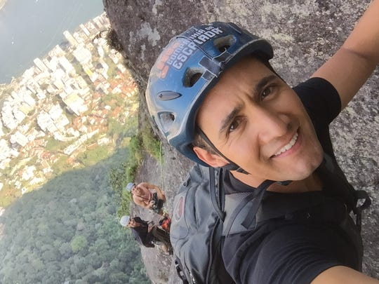 NBC correspondent Gadi Schwartz, an NMSU alum, tries rock climbing, which will be an Olympic sport in 2020.