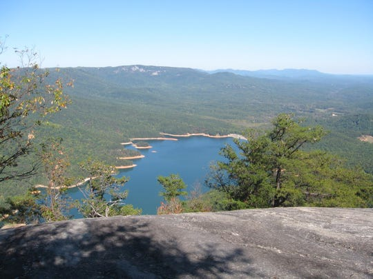 View of Table Rock Lake from the top of the peak.