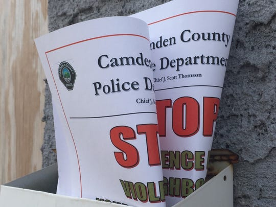 Fliers distributed by Camden County Police officers