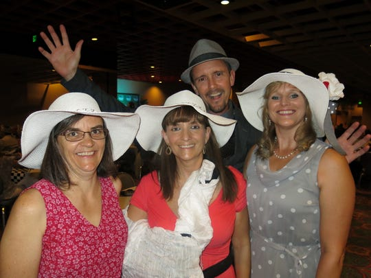 Ann Cassidy, Jane Pullo, Tammy Russell and John Fussell (back) at Les Femmes Coronation.