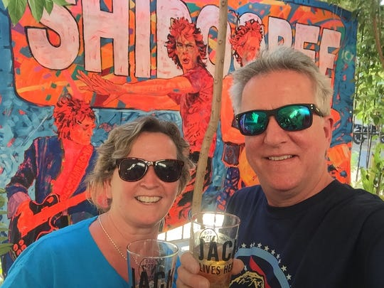 Rolling Stones fans Jennifer and Phil Ackerson of Long Island.