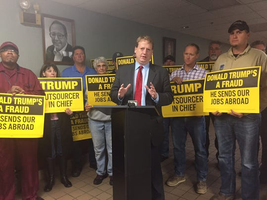 House Minority Leader Tim Greimel, D-Auburn Hills, was in Novi Friday to oppose Republican presidential candidate Donald Trump