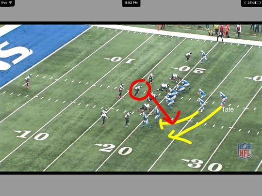 Tate's run to the left stuffed by Jordan Hicks.