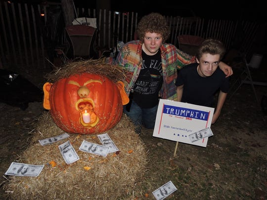 Andrew Vogts, left, and Liam Jackson with 2015's Trumpkin, which got lots of laughs then, while Trump was in the primaries.