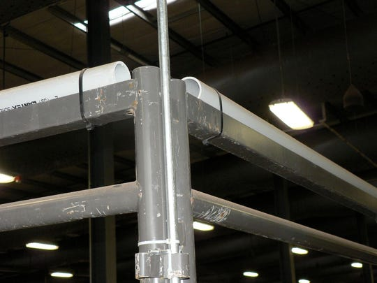 PVC piping has been added to the top rail of the livestock