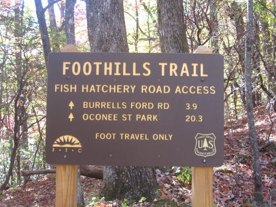 The Foothills Trail includes access to a fish hatchery and more by way of Burrells Ford
