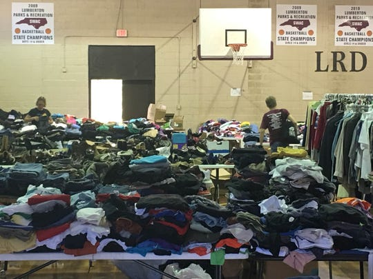 Some of the clothes donated as part of flood relief