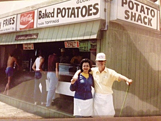 Jack Hubberman, and his wife Jackie, in front of the Potato Shack on the Ocean City Boardwalk, circa 1978.