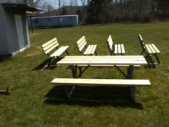 Thomas Ritz built benches and tables for the Apalachin Fire  Department for his Eagle Scout project.