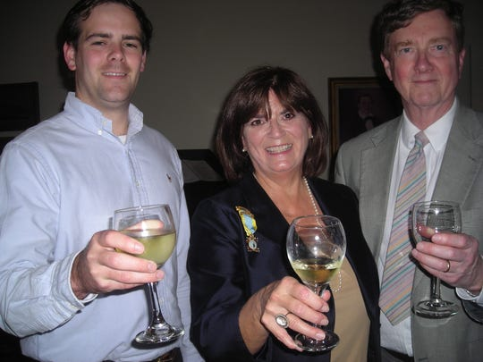 Gahagan Pugh with his mom and dad, Colonial Dames-Shreveport Prez Maura Pugh and Bobby Pugh at Wine and Cheese party.