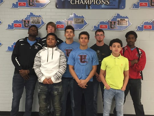 Academic Awards were given to the following: Front row, left to right: Dontae Smith,Tyran Holmes,Dillon Long. Back row, left to right: Marqualio King,Logan Thomas,Lincoln Sisk, Trey Hutchison, and Chris Bledsoe.