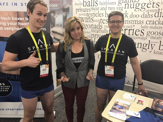 The staff of Sparton show off underwear that claims