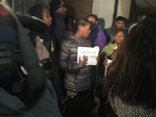 Protestors carried the names of each of the 11 people fatally shot in Mount Vernon.