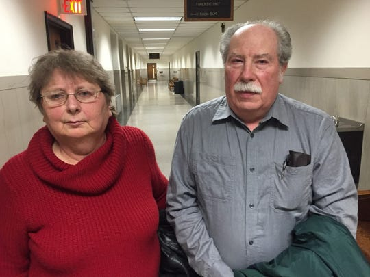 Carolyn and Frederick Tousignant, parents of Carrie Ann Jopek, stand outside the courtroom in January after Jose E. Ferreira Jr. pleaded guilty to reduced charges in the death of their daughter.