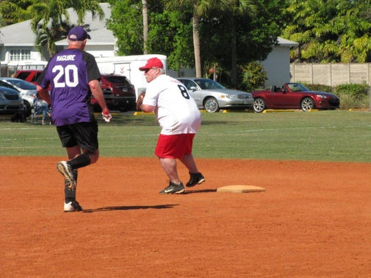 Jerry Lenhoff of Stonewalls gets the force out at second base on Brian Maguire of Rookies.