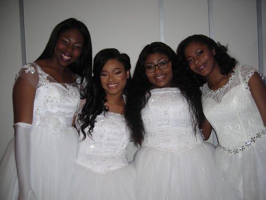 AKA Debs Loghan Dawson, Destinee Brown, Wreveyona White, Adrienne Taylor backstage at the Debutante Cotillion.