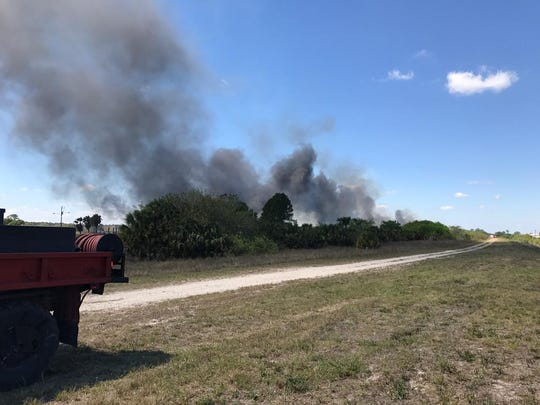 Firefighters in Immokalee were battling a small brush fire Wednesday afternoon, but no homes were threatened, officials said.