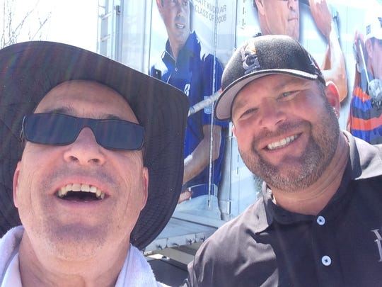 Ken Stickney, left, takes a selfie with Jason Gore at the Chitimacha Open.