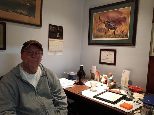 Pat Callahan in the office of his seafood business