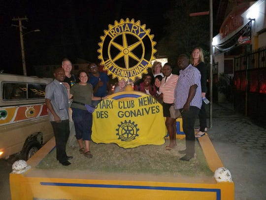 Vassar Haiti Project members are shown at Rotary in Gonaives, Haiti. Left to right are Pere Andre Wildaine, Andrew Meade, Lila Meade, Amisial Nesly, Dr. Kimberly Heller, Clairiola Etienne '18, Irene Monck, Melanie Lai Wai '16, Joseph Florcie, Philogene Mesac and Liz Glassberg.