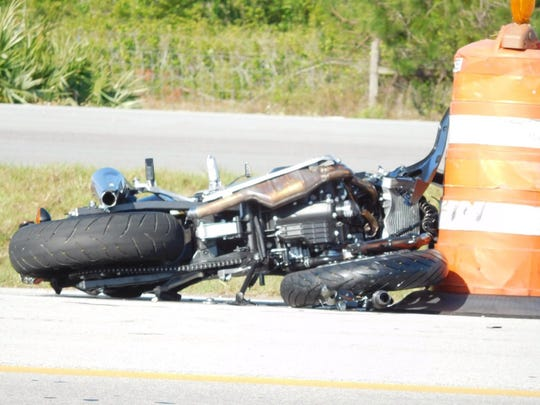 A motorcycle was involved in a crash on Interstate 95 south of Sebastian on March 30, 2017.