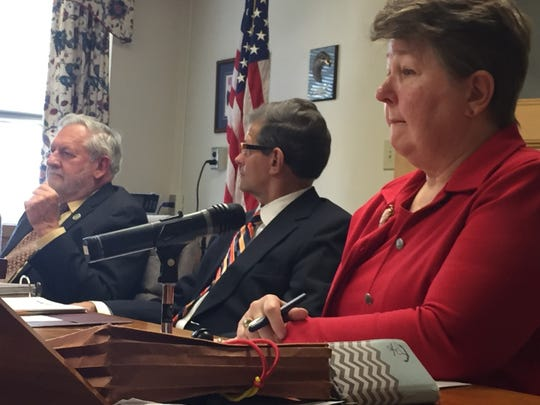 Commissioner Bill Ames (left) comments Thursday on a real estate developer's request for a tax abatement deal, as commissioners Bob Phillips and Jo Ellen Litz listen.