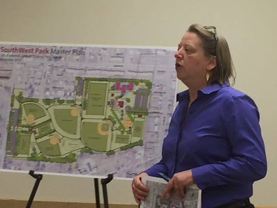 Ann Yost of YSM Landscape Architects provides details of a Master Site Plan for Southwest Playground at Thursday's Lebanon City Council meeting.