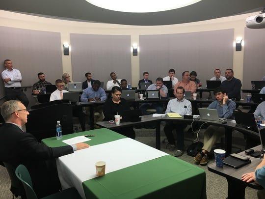 SEC Commissioner Greg Sankey addresses media members at the Associated Press Sports Editors Southeast Region meeting in Birmingham, Ala., on Monday, April 24, 2017.