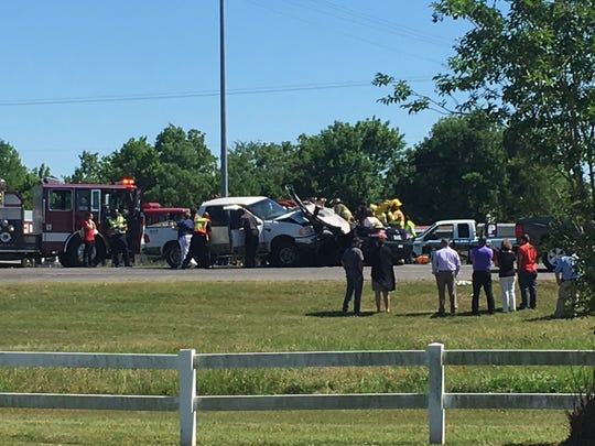 First responders work the scene of a two-vehicle wreck