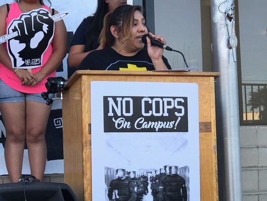 Leidy Robledo speaks at the campaign launch outside