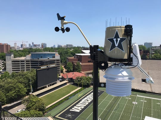 A WeatherSTEM device at Vanderbilt University's football stadium.