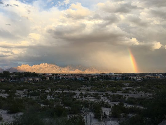 A rainstorm passed to the south of the Organ Mountains .