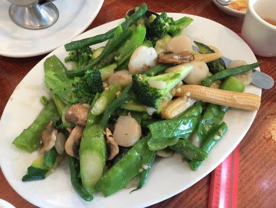 A plate of vegetables at Sailing Boat restaurant.
