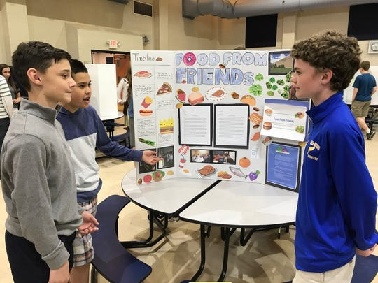 Ho-Ho-Kus eighth-graders Patrick Nicholson, Chris Kaiser and Joey Trobiano helped restaurants connect with Table to Table for their community service project.