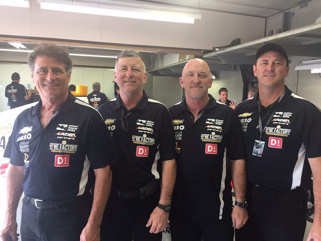 The four Caudle brothers, all firefighters from Texas, will be working in Buddy Lazier's pit crew during Sunday's Indianapolis 500. It will be the first time they have done the work during a race. From left are Jim, 57; Bob, 55; Ken, 53; Craig, 46.