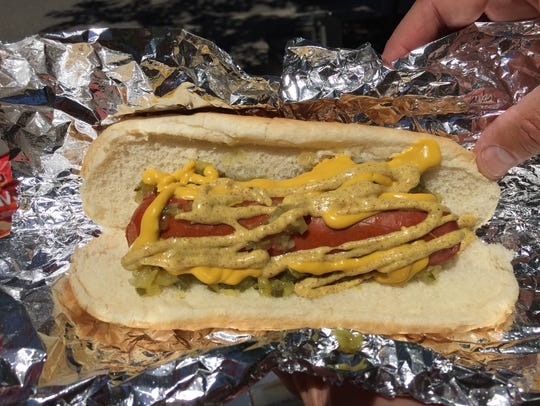 Polish dog with relish and mustard from Downtown Dogs.