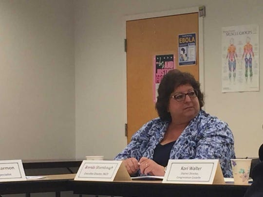 Brenda Shambaugh, executive director of the Pennsylvania Association of Conservation Districts, listens to comments at Friday's legislative round table.