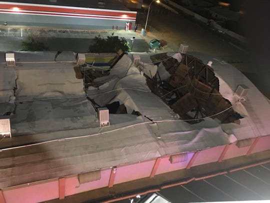 Rollero roof collapses in Monday night following an unknown fire that sparked over night, and will be closed 'until further notice.'