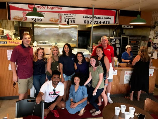 A group of former employees and Leroy's customers gathered