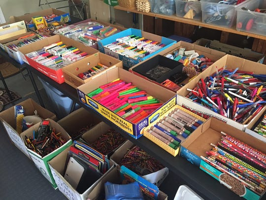 Some of the recycled school supplies that were being