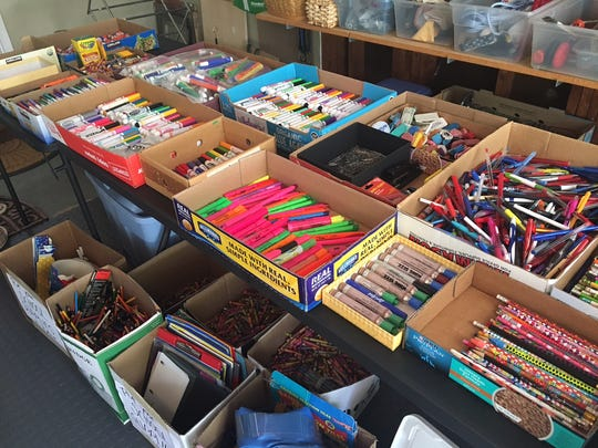 Some of the recycled school supplies that were being given away by a retired teacher. Sky McClain taught for more than 34 years, mostly in Voorhees, and organizes an annual school supply giveaway for teachers from  used and recycled supplies. Her Moorestown garage is the site of the giveaway each year.