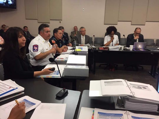 El Paso Fire and Police department leaders participate in a recent City Council budget workshop.
