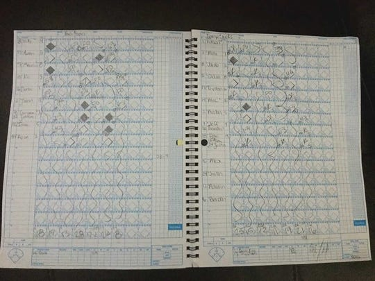 Official scorebook from Naa'taanii vs. Pumpjacks Connie Mack City Tournament game. Pitch count is listed at bottom.