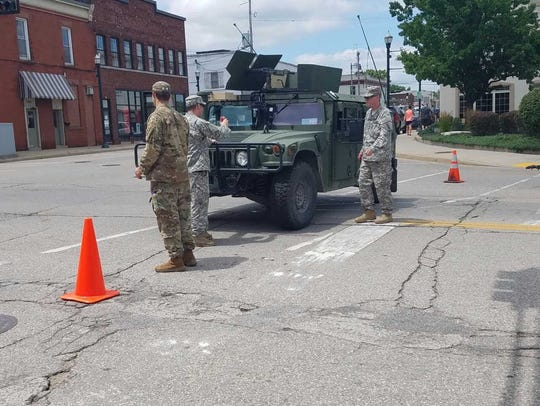 National Guard in Burlington to help with flood relief.