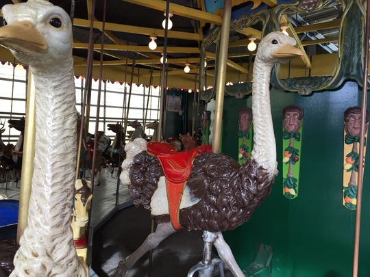 The carousel includes more menagerie animals than most carved at the turn of the century.